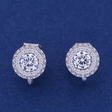18K WHITE GOLD PLATED GENUINE AUSTRIAN CRYSTAL SMALL ROUND  CLIP-ON EARRINGS
