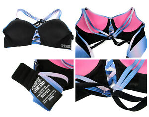 Victoria's Secret Pink Racer back bra Ultimate Sport Black Pink Blue Sz Small
