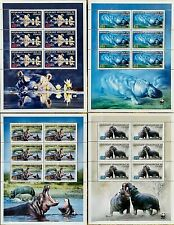 Stamps WWF Hippopotamus MNH mini sheets 6 values/ Timbres WWF Hippopotame