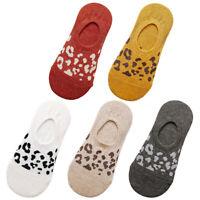 1 Pair Women Invisible No Show Low Cut Liner Boat Socks Leopard Print Anti Slip