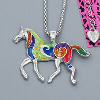 Colorful Enamel Steed Horse Pendant Chain Betsey Johnson Animal Necklace Gift