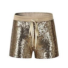 Womens Summer Shorts Elastic Waist Sequined Drawstring Slim Shorts Wear Z