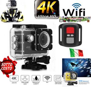 🔝⭐⭐⭐⭐⭐SPORT CAM SUBACQUEA 30 Mt  4K UHD   DISPLAY TELECOMANDO WIFI HDMI USB 16M