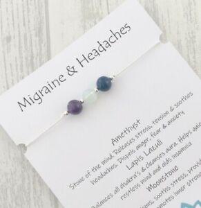 Migraine Bracelet Headache Relief Gemstone Hope Healing Crystal Gift