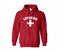 LIFEGUARD Unisex Sweatshirt Hoodie White Symbol Swimming Slogan Beach Pool Staff