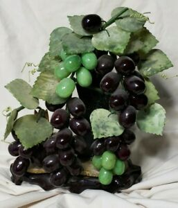 Vintage Jade Grapes Grapevine Decorative Fruit Stone Wine Cellar Bonsai Chinese
