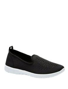 Womens Black Trainers Wide Fit Size 6 Memory Foam Slip On Pumps Walking Shoe NEW