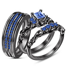 2.10 Ct Sapphire 10k Black Gold Over His And Hers Disney Wedding Trio Ring Set