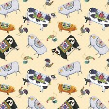 Jim Shore Village Farm Animals 100% cotton fabric by the yard