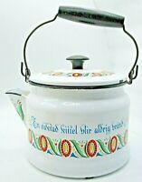 Vintage Berggren Floral Mid-Century Enamelware 2 Qt Tea Pot Kettle Original Lid