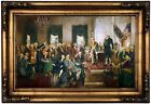 Christy Scene at the Signing of the Constitution Wood Framed Canvas Repro 12x20