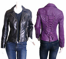 Hip Length Leather Outdoor Biker Jackets for Women