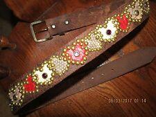 Ladies Handmade Brown Leather Belt, Snake Skin Heart Inlays, Jewels, Studs 36