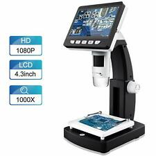 LCD Digital Microscope, FOCLEN 4.3 inch 50X-1000X Magnification Zoom 1080P 2.0 M
