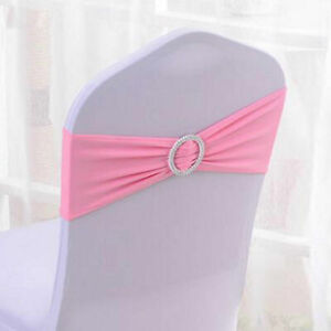 10 Pink Chair Sashes Buckle Slider Wedding Party Large Diamante Circle Centre