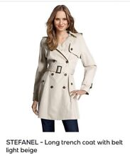 STEFANEL-lunghi Trench con Cintura Beige Chiaro - 16 (UK) - 48 (IT) RPR £ 240