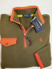 NWT $135 POLO RALPH LAUREN Size M Men's L/S Olive RUGGED Fleece Pullover Jacket