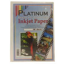 PLATINUM PREMIUM INSTANT DRY INKJET A4 PHOTO PAPER MATT FINISH 100GSM 100 SHEETS