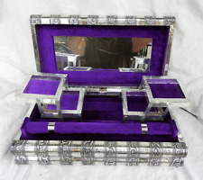 Massive Embossed Indian Style Silver Metal Locking Jewellery Box - BNIB