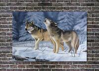 Wolf Oil Painting Original Couple Animals Wildlife Master Art Canvas