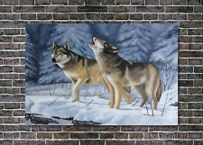 Wolf Oil Painting Original Animal Wildlife Landscape Hand-Painted Canvas 24x36