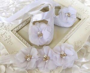 Baby Girl White Christening Shoes Rhinestone Pearl Chiffon Flower Headband Set