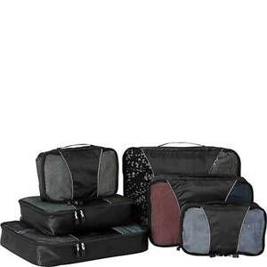 eBags Small/Medium/Large Packing Cubes for Travel - 6pc Sampler Set - (Black)