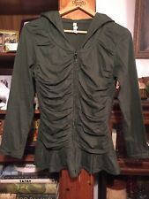 AVATAR CLOTHING COTTON GREEN RUCHED ZIPPER FRONT HOODED JACKET, SIZE M