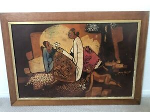 🔥 Beautiful Antique Seah Kim JOO Asian Impressionist Batik Painting - Singapore