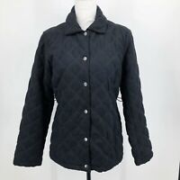 Croft & Barrow Women's Quilted Jacket Size S Insulated Snap Button Close Black