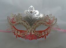 Pink Silver & Salmon Metal Venetian Masquerade Party Mask * NEW *