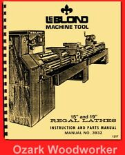 "Leblond Regal 13"" 15"" 17"" 19"" Metal Lathe Operator & Parts Manual No. 3932 1217"