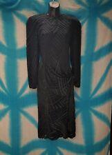 Black Silk Velvet Evening Flapper Dress Deco burn out Mint Condition