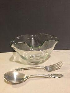 Vintage Clear Glass Serving Fruit Salad Bowl With Decorative Shape.