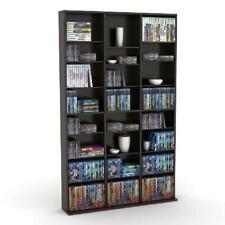 Multimedia Storage Cabinet Stand Tower DVD CD Rack Shelf Organize Media Espresso