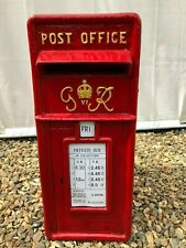 British Post Box Royal Mail Pillar Cast Iron Post Office - GR Red