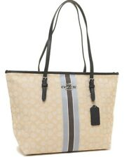 Coach * Women's Bag F39043 SVE7V Signature Zip Tote Stripe Khaki