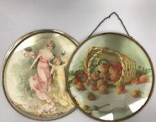 "2 Antique Glass Flue Covers REPAIR LOT Basket Strawberries Woman Girl Cherb 9.5"""