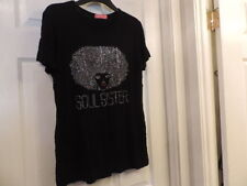 Tee Shirt Soul Sister Rhinestones One Size New Silver Red Black Short Sleeves