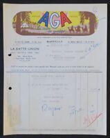 Facture 1958 MARSEILLE AGA LA DATTE UNION   illustrée 66