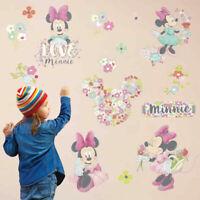 Sweet Minnie Mouse Vinyl Wall Sticker Flower Decals Kid Girls Nursery Room Decor