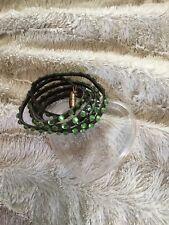 Black Leather And Green Swarovski Crystal Wrap Bracelet