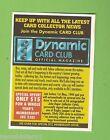 1994 Series 1 RUGBY LEAGUE PROMO CARD - DYNAMIC CARD CLUB