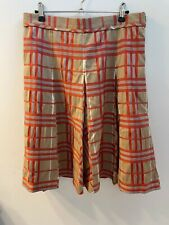 Burberry London Skirt UK Size 8 Pleated Orange Autumnal Check Good Condition