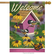 "Chickadee House Welcome Spring House Flag Double Sided Birds Floral 28"" x 40"""