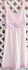 Vtg Aristocraft Superior Pink Nylon Embroidered Waltz Length Nightgown L/38