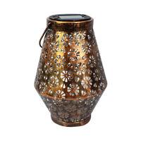 Art Flower Wrought Iron LED Solar Projection Lamp Portable Hanging Lantern R1BO