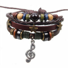 Fashion Infinity Leather Music Note Charm Silver lots Beads Bracelet Jewelry New