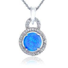 Sterlingsilber Künstlicher Blau Opal & Cubic Zirkonia Runde Halskette
