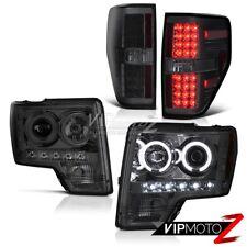 2009-2014 FORD F150 Pick Up CCFL Smoke Halo Headlights Dark LED Tail Light Lamps